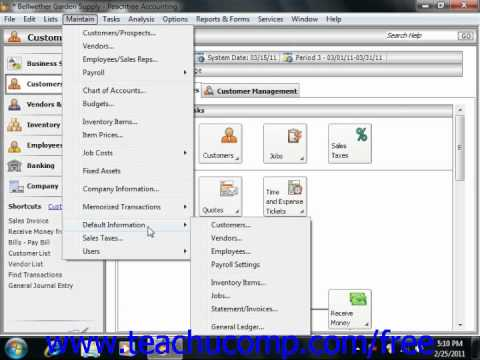 Peachtree Tutorial Setting Up the Accounts Payable Defaults Sage Training Lesson 5.1