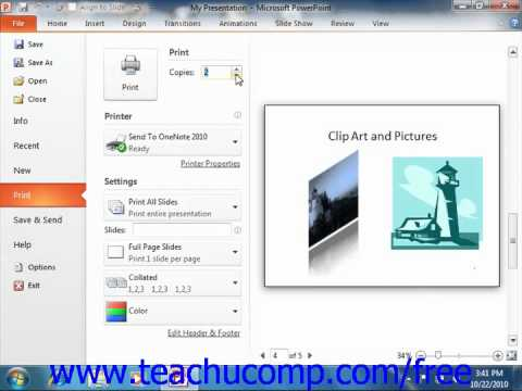 PowerPoint 2010 Tutorial Previewing & Printing Presentations 2010 Only Microsoft Training Lesson 8.5