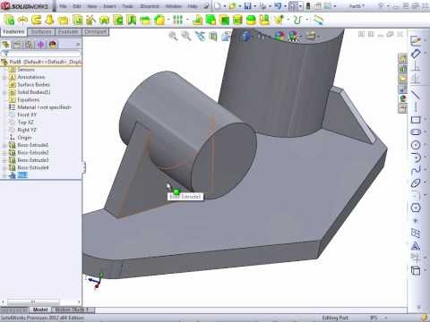 Solidworks 2012 Tutorial | Creating Ribs and Draft