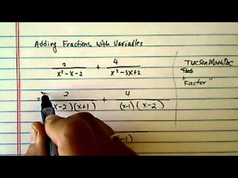 Rational Fractions:  (2) / (x^2 - x - 2) + (4) / (x^2 - 3x +2)