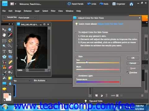 Photoshop Elements 9.0 Tutorial Adjusting Skin Tone Adobe Training Lesson 14.11