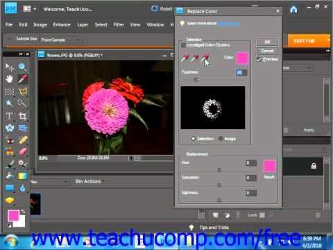 Photoshop Elements 9.0 Tutorial Replacing Color Adobe Training Lesson 14.9