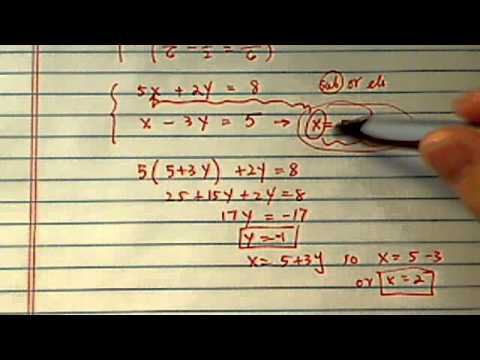 System of Equations (with 2 VAR):  x/2 + y/5 = 4/5 ... x/6 - y/2 = 5/6