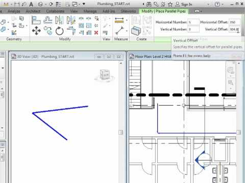 Revit MEP 2012 Tutorial - Plumbing: Parallel Pipes