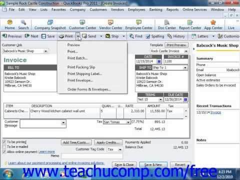 QuickBooks 2011 Tutorial Previewing Sales Forms Intuit Training Lesson 7.5