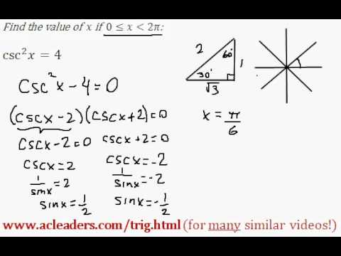 TRIGONOMETRY - solving an equation and finding 'x' between 0 and 2pi - EASY!!! (pt. 4)