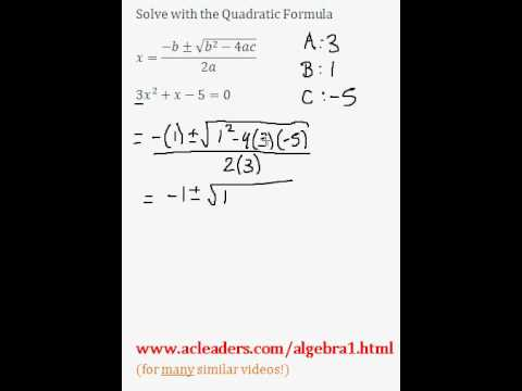 Quadratic Formula - Solving for 'x' in a trinomial expression. EASY!!! (pt. 6)