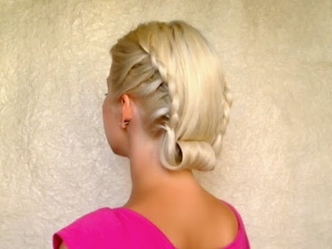 Retro rolled updo with lace braids Vintage hairstyle for medium long hair tutorial Winter 2012