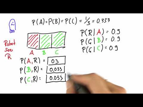 Robot Sensing 6 Solution - Intro to Statistics - Bayes Rule - Udacity