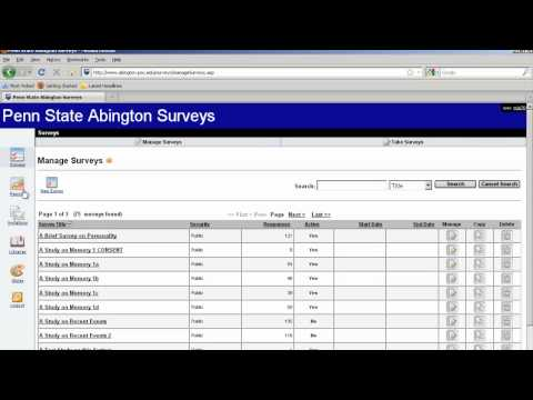 Penn State Abington Surveys - Video 5 Exporting Data