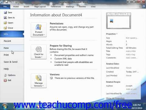 Word 2010 Tutorial The File Tab and Backstage View Microsoft Training Lesson 1.6