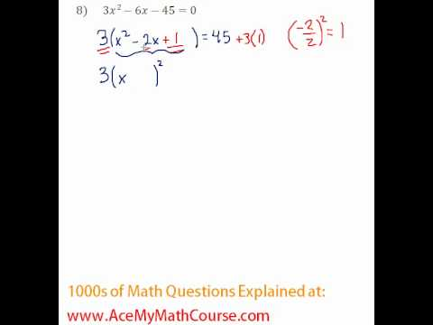 Solving by Completing the Square #8