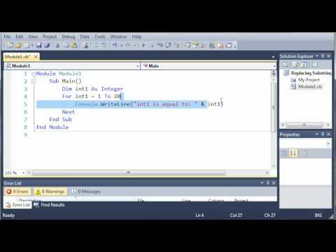 Visual Basic Tutorial - 26 - For Next Loop
