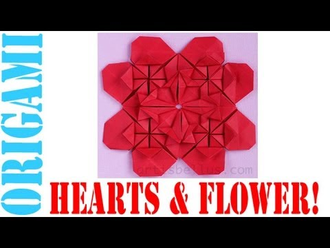 Origami Daily - 167: Modular Hearts & Flower (Valentine's Day) - TCGames [HD]