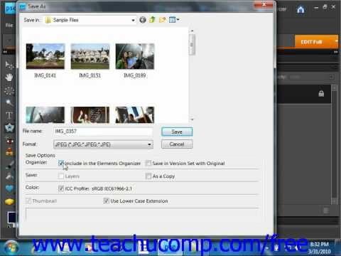 Photoshop Elements 9.0 Tutorial Saving Images Adobe Training Lesson 15.1