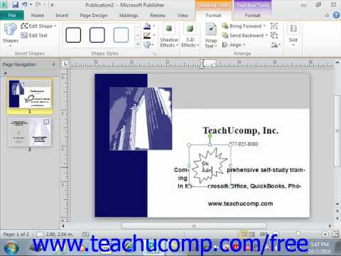 Publisher 2010 Tutorial Adding Text to Shapes Microsoft Training Lesson 3.3