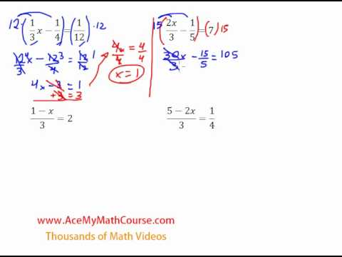 Solving Equations with Fractions - Introduction