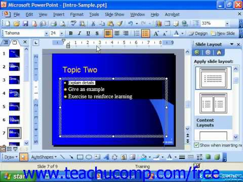PowerPoint 2003 Tutorial Adding Text Enhancements Microsoft Training Lesson 7.5