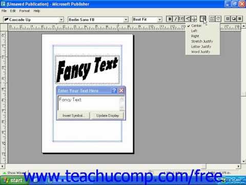 Publisher 2003 Tutorial Using WordArt 2000 Microsoft Training Lesson 7.7