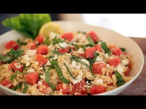 Orzo Salad Watermelon Basil & Feta: How to Make || KIN EATS