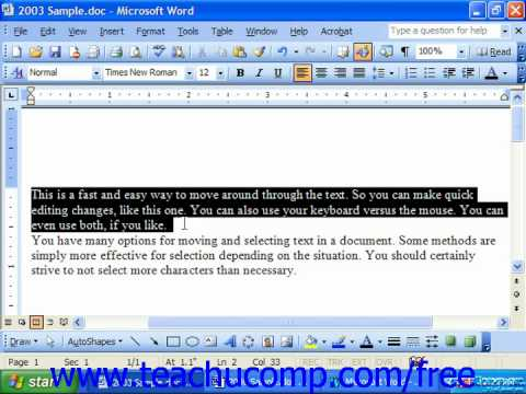 Word 2003 Tutorial Deleting Text Microsoft Training Lesson 3.1