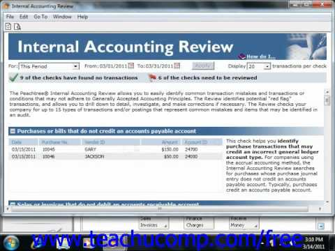 Peachtree Tutorial Using the Internal Accounting Review 2006 2011 Sage Training Lesson 15.1