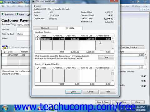 QuickBooks 2011 Tutorial Applying Customer Credits Intuit Training Lesson 10.6