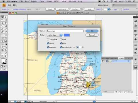Part 1 of 9: Adobe Illustrator map tutorial SIZING REF. MAP, LAYERS