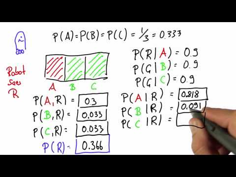 Robot Sensing 8 Solution - Intro to Statistics - Bayes Rule - Udacity