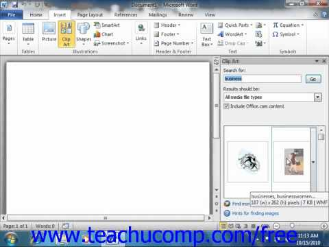 Word 2010 Tutorial Using Clip Art Microsoft Training Lesson 12.1
