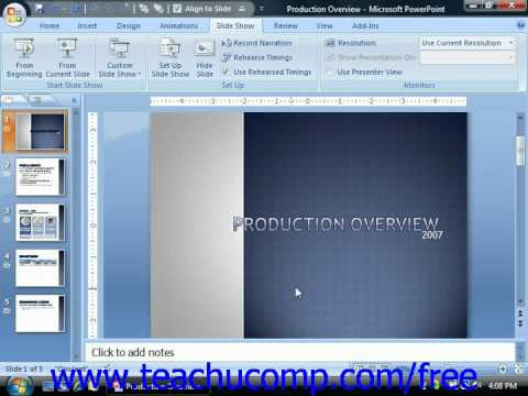 PowerPoint 2007 Tutorial Recording Narration-2007 Only Microsoft Training Lesson 15.3