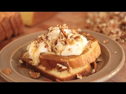 Pound Cake Topped w/ Toffee Sauce & Pecans (Semi Homemade Recipe) || KIN EATS