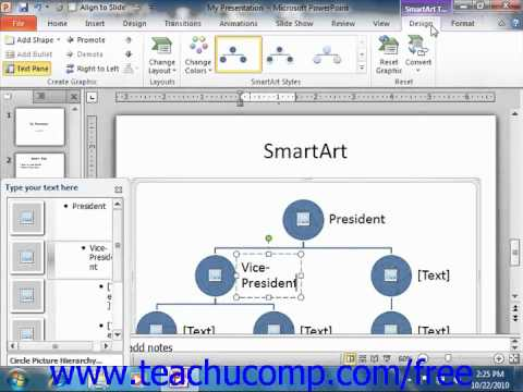 PowerPoint 2010 Tutorial Inserting and Manipulating SmartArt Microsoft Training Lesson 6.1