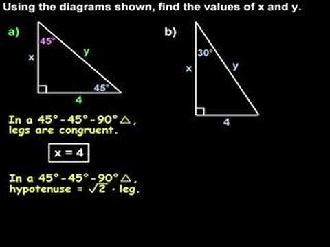 Special Right Triangles - 30 60 90 and 45 45 90 Triangles