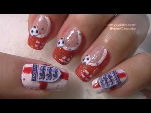 World Cup England Nail Art Tutorial / FIFA Mundial Inglaterra Arte para las unas