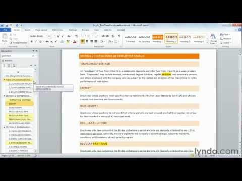 Searching and navigating with the Navigation Pane:  Word 2010 New Features from lynda.com