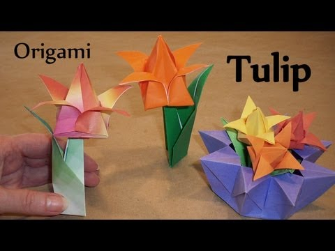 Origami Tulip, Leaf and Stem