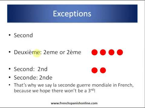 Ordinal Numbers in French