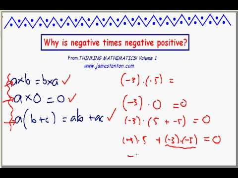 Why is negative times negative positive?  PART II (JAMES TANTON)