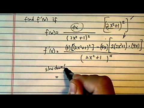 Quotient Rule: derivative of f(x) = 4x / (2x^2+1)^2