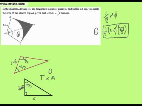 Sectors with quadrilaterals and tangents (Trig core 2 exam standard question)