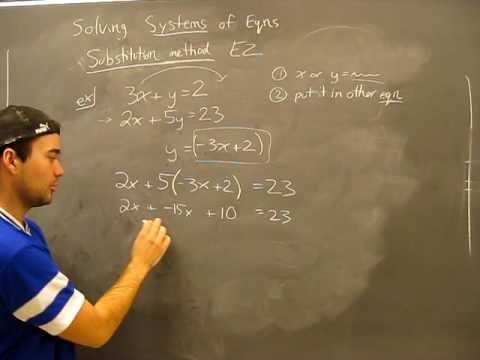 Solving Systems of Equations: Substitution Method Pt1 Algebra Math Help