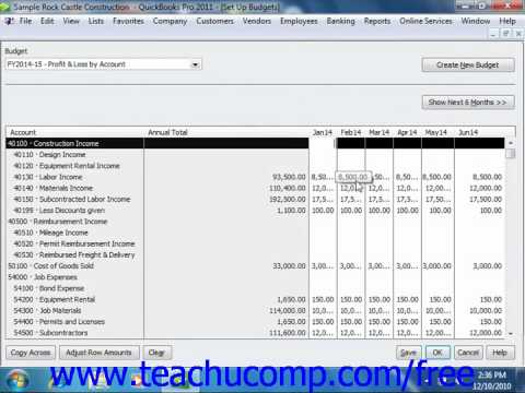 QuickBooks 2011 Tutorial Setting Up Budgets Intuit Training Lesson 25.2