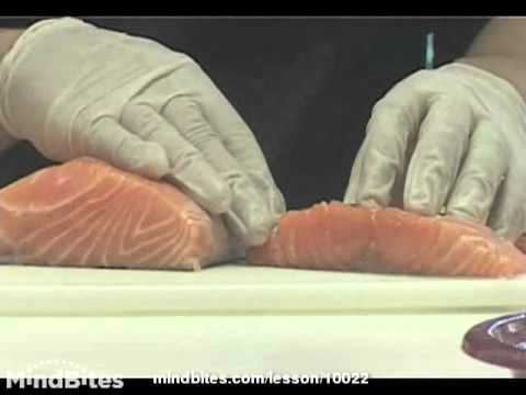 Selecting and filleting a fish for sushi