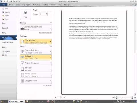 Office 2010 Class #14: Word Print Preview and Print Dialog Box Are The Same
