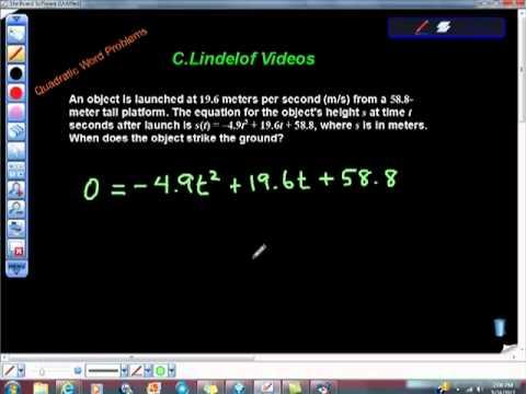 Quadratic Equation Word Problem Projectile College Algebra