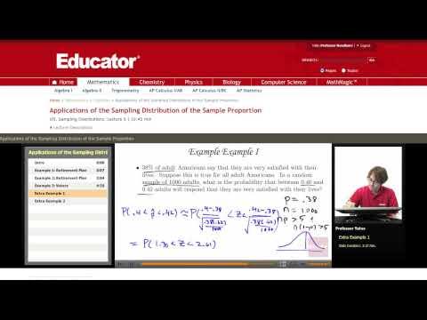 Statistics: Sampling Distribution of a Sample Proportion (Central Limit Theorem)