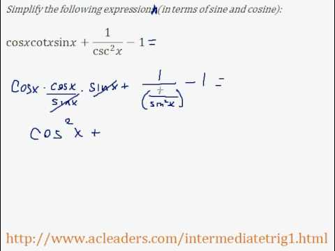 Simplifying trig expressions - Pt. 7 (EASY!!!!!)