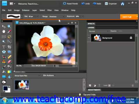 Photoshop Elements 9.0 Tutorial Using the Dodge Tool & the Brim Tool Adobe Training Lesson 13.7