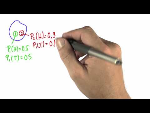 Two Coins 1 Solution - Intro to Statistics - Conditional Probability - Udacity